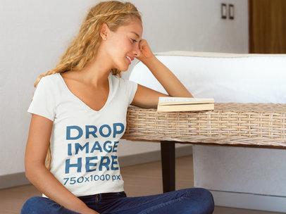 Woman Reading a Book at Home T-Shirt Mockup a7796
