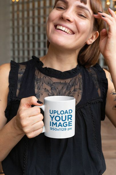 11 Oz Mug Mockup Featuring a Smiling Young Woman with Tattoos 27231