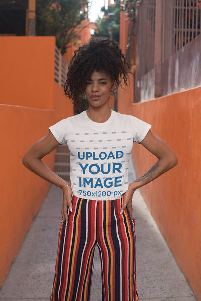 Crewneck T-Shirt Mockup of a Woman with Kinky Hair in an Urban Alley 27347