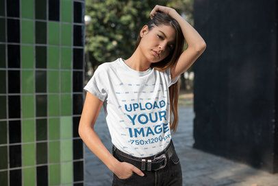 Tee Mockup Featuring a Cool Young Woman Playing with Her Hair 27326