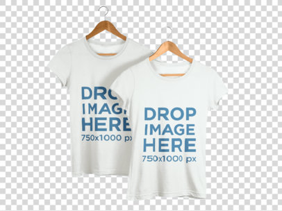 T-Shirt Mockup of Two T-Shirts on Clothes Hangers b8178