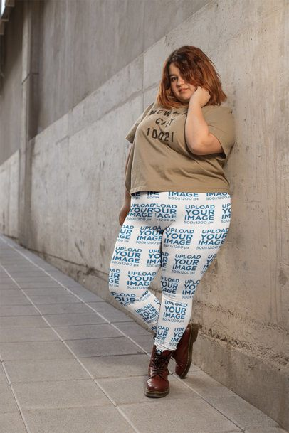 Plus Size Leggings Mockup of a Woman Leaning on a Wall 24911