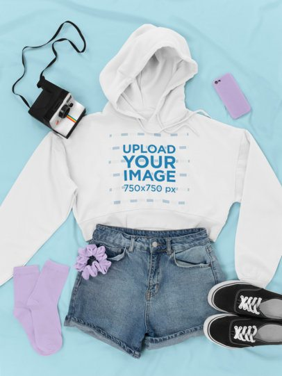 Crop Top Hoodie Mockup of a 90's Inspired Outfit 26336