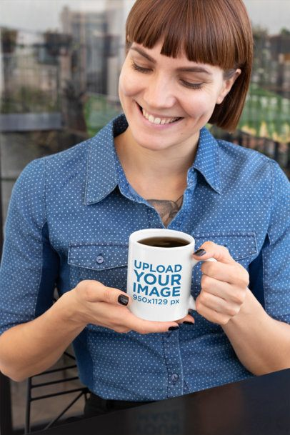Mockup of a Short-Haired Woman Holding a 11 oz Coffee Mug 27236