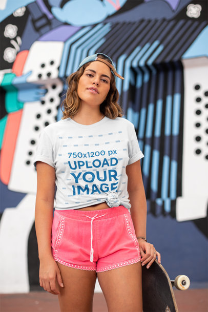 Mockup of a Skater Woman Wearing a Knotted T-Shirt 27066