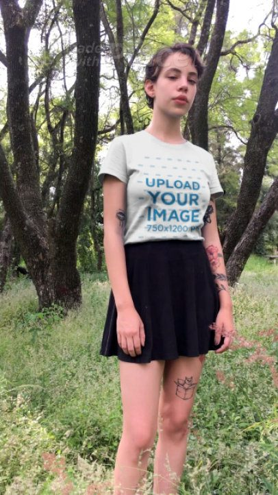T-Shirt Video of a Woman at a Forest Park 23268