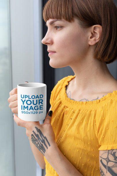 11 Oz Coffee Mug Mockup of a Woman Staring Through a Window 27239