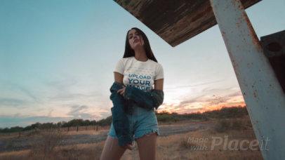 Parallax Video of a Woman Wearing a T-Shirt at the Desert 27644