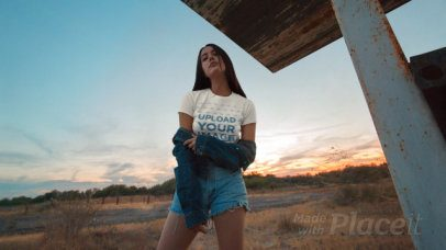 Parallax Video of a Woman Wearing a T-Shirt at the Desert 27644