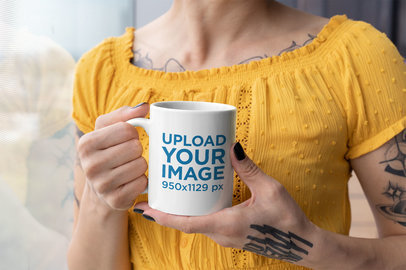 11 Oz Coffee Mug Mockup Featuring a Woman With Multiple Tattoos 27240