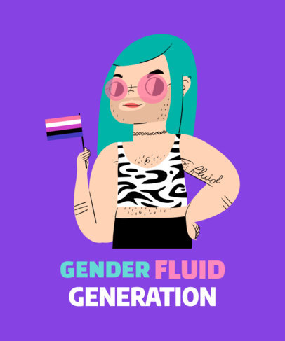 T-Shirt Design Maker for Gender Fluidity Pride