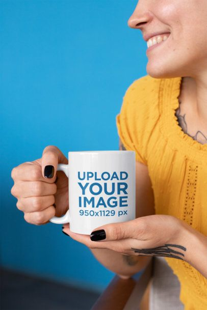 11 Oz Mug Mockup of a Smiling Woman at a Solid Color Background 27241