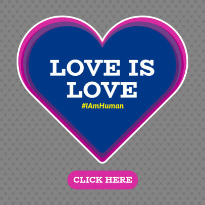 Love Is Love Ad Banner Template with a Heart Clipart 1295a