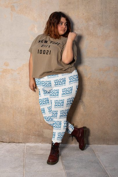 Plus Size Leggings Mockup of a Young Woman Against a Wall 24905