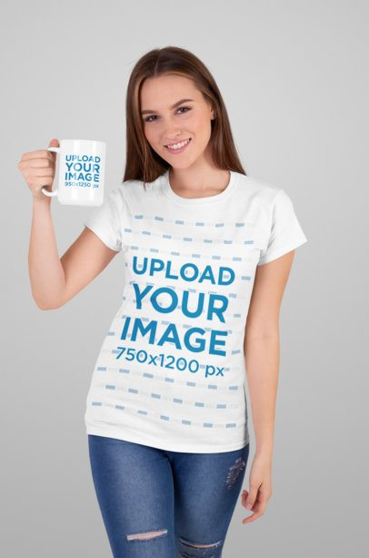 T-Shirt Mockup Featuring a Young Woman Holding a 15 Oz Coffee Mug 27504