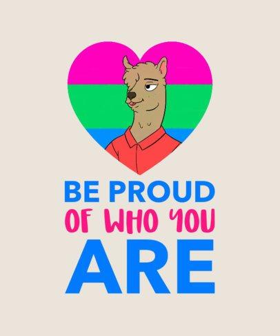 Funny LGBTQ T-Shirt Design with a Proud Llama Clipart 1292c