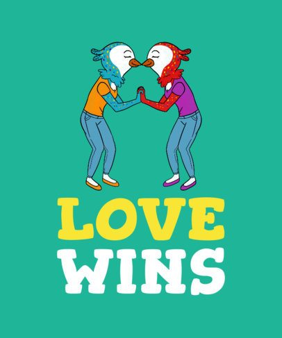 Love Wins T-Shirt Design with a Bird Couple Illustration 1292d