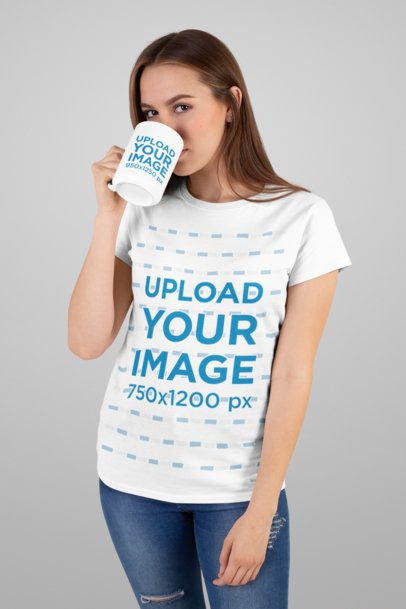 T-Shirt Mockup of a Long-Haired Woman Drinking from Her 15 oz Coffee Mug 27507