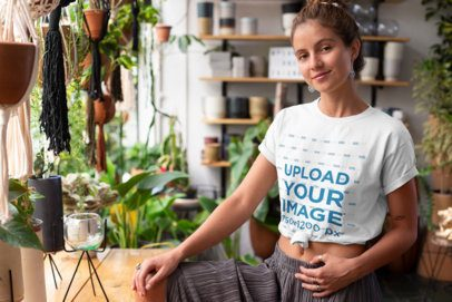 Mockup of a Hippie Woman Posing with a Knotted T-Shirt 27081