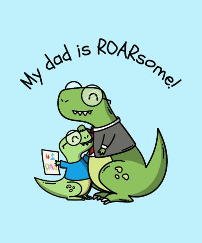 Father's Day T-Shirt Design Template with Dinosaur Clipart 201g