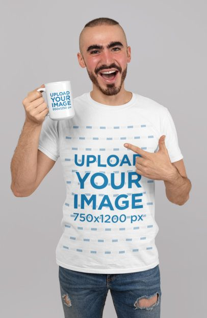 Mockup of a Happy Man Wearing a T-Shirt and Showing a 15 oz Coffee Mug 27528