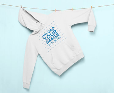 Pullover Hoodie Mockup Hanging from a String by Clothespins 27000