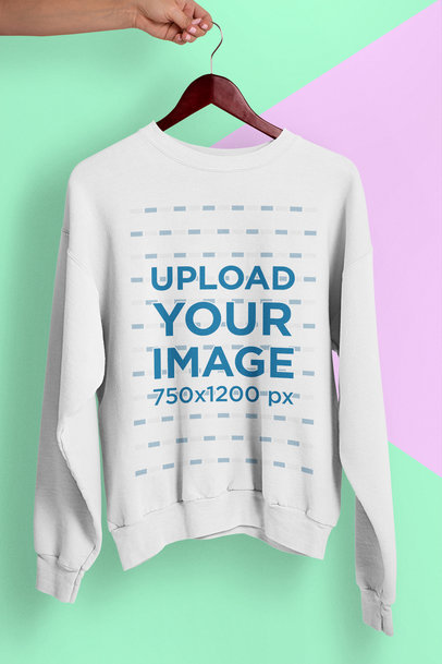 Crewneck Sweatshirt Mockup with a Minimal Bicolor Background 26743