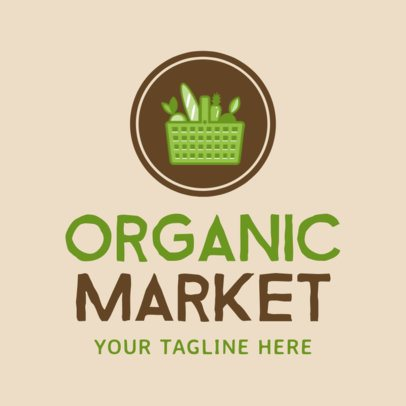 Online Logo Maker for a Market with Shopping Basket Icon 1190d