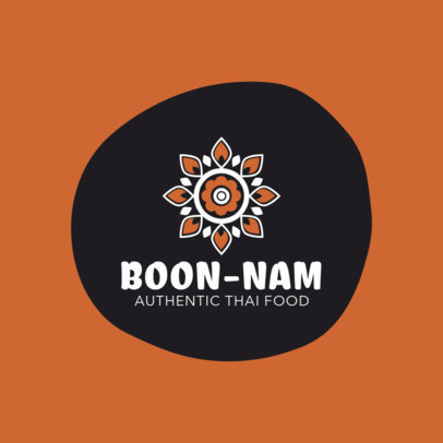 Thai Food Logo Maker with a Mandala Flower 1839d