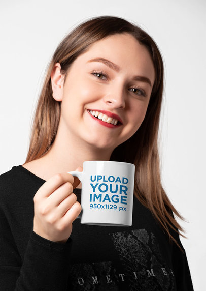 11 Oz Mug Mockup Featuring a Joyful Woman with Red Lips 27319