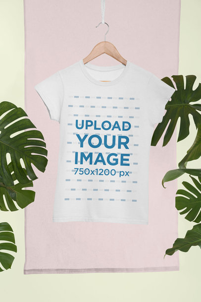 Mockup of a Women's T-Shirt Hanging in a Tropical Setting 27024