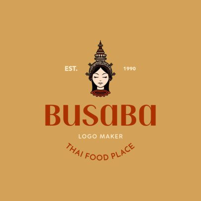 Logo Template for a Thai Food Place with an Asian Woman Graphic 1846a