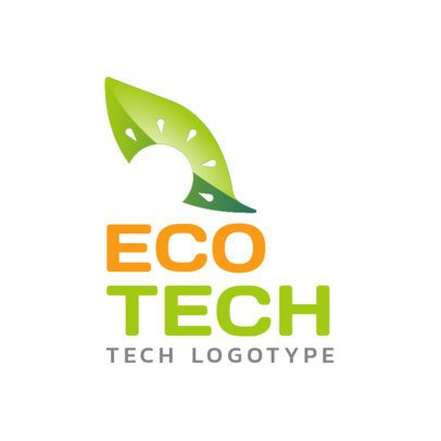 Eco-Tech Logo Template with a Leaf Illustration 2173a