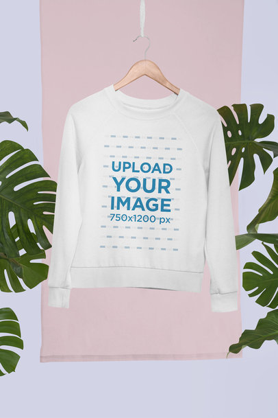 Mockup of a Hanged Sweatshirt in a Tropical Set 27022