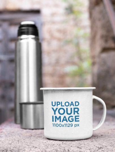 12 Oz Enamel Mug Mockup Against an Aluminum Thermos 26971