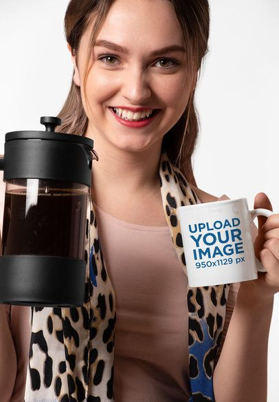 11 oz Mug Mockup of a Happy Woman Holding a French Press 27324
