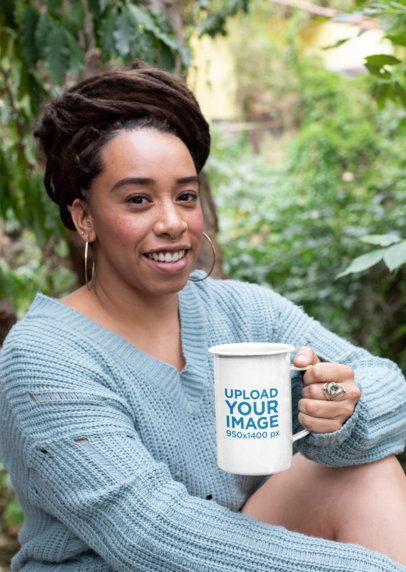 21 oz Enamel Mug Mockup of a Smiling Woman with a Loc Updo 26979