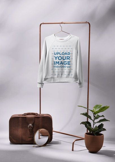 Mockup of a Crewneck Sweatshirt for Women Hanged Next to Decorative a Plant 27398