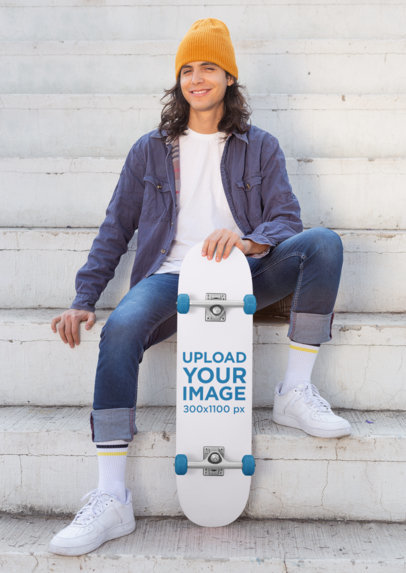 Skateboard Mockup Featuring a Long-Haired Man Sitting on an Urban Stairway 27198