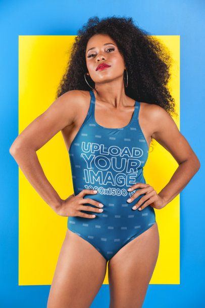 Swimsuit Mockup of a Woman with Long Curly Hair Against a Bicolor Surface 26575