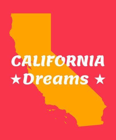 T-Shirt Design Template for California Dreamers 1382d
