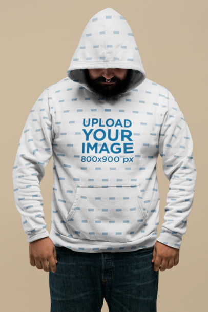 Plus Size Hoodie Mockup of a Man Against a Flat Background 27759
