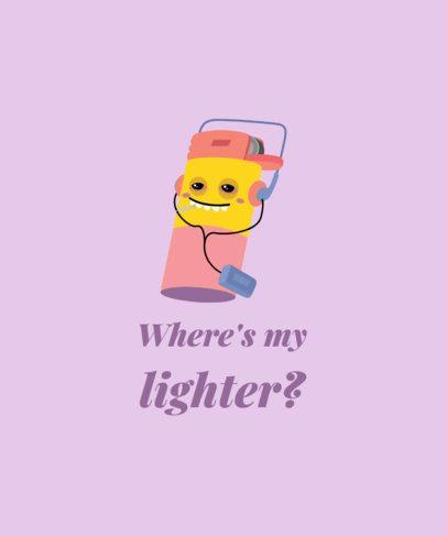 T-Shirt Design Maker with a Cool Stoned Lighter Cartoon 1409b