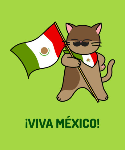 Mexican T-Shirt Design Maker Featuring a Cat with a Mustache 1406b