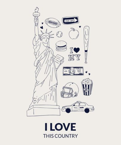 Patriotic T-Shirt Design Maker with Statue of Liberty Clipart 1404
