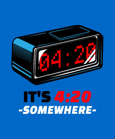 T-Shirt Design Template with a 4:20 Clock 1410a