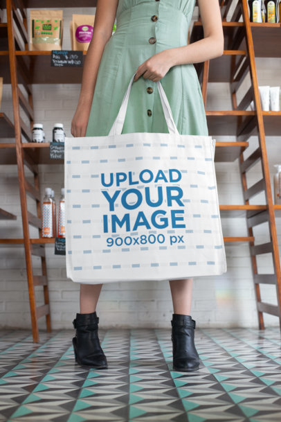 Mockup of a Woman Holding a Grocery Bag at a Store 27619