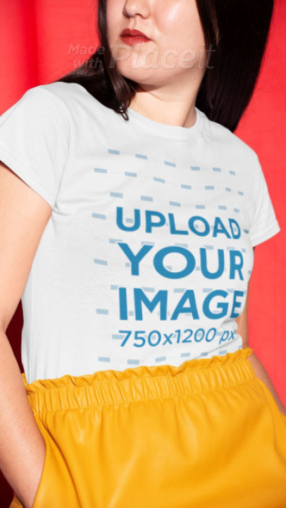 T-Shirt Video Featuring a Woman with Red Lips against a Colored Background 22725