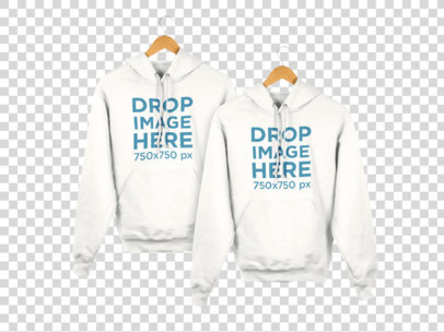Set of Hoodies Hanging from a Wall Hoodie Mockup a8175
