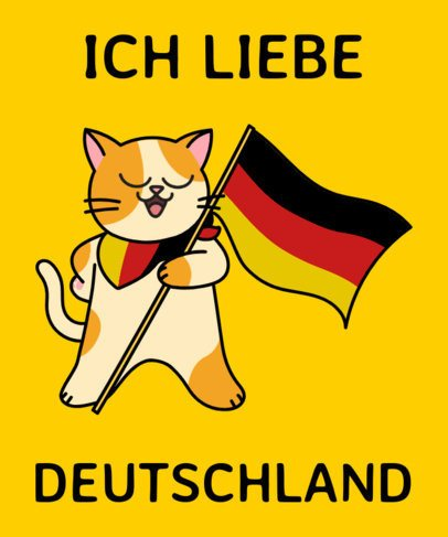 German T-Shirt Design Template with a Kitten Graphic 1406a